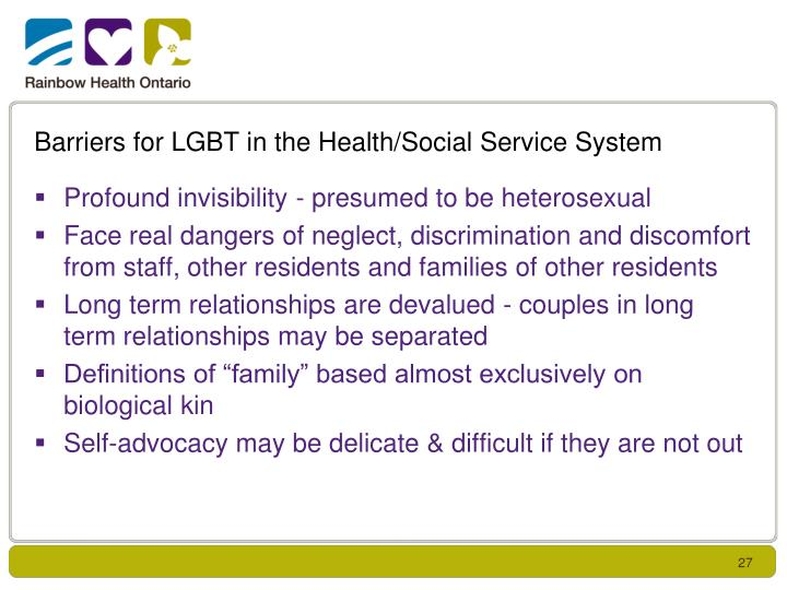 Barriers for LGBT in the Health/Social Service System