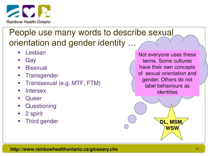 People use many words to describe sexual orientation and gender identity …