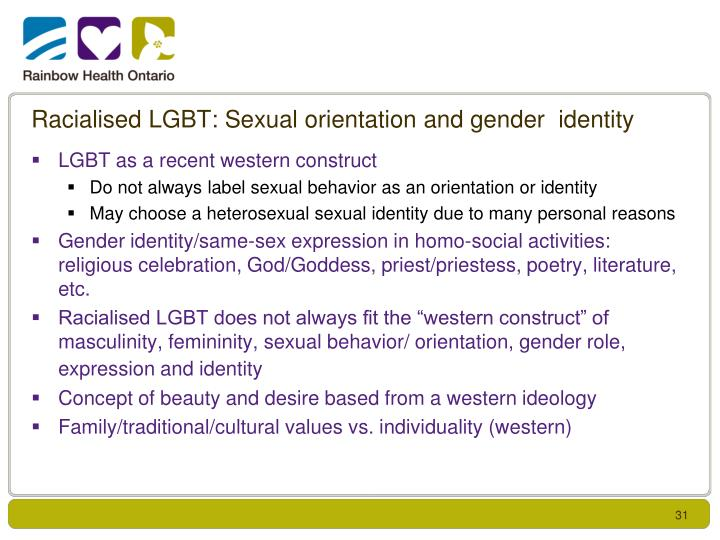 Racialised LGBT: Sexual orientation and gender  identity