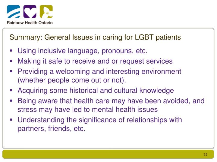 Summary: General Issues in caring for LGBT patients