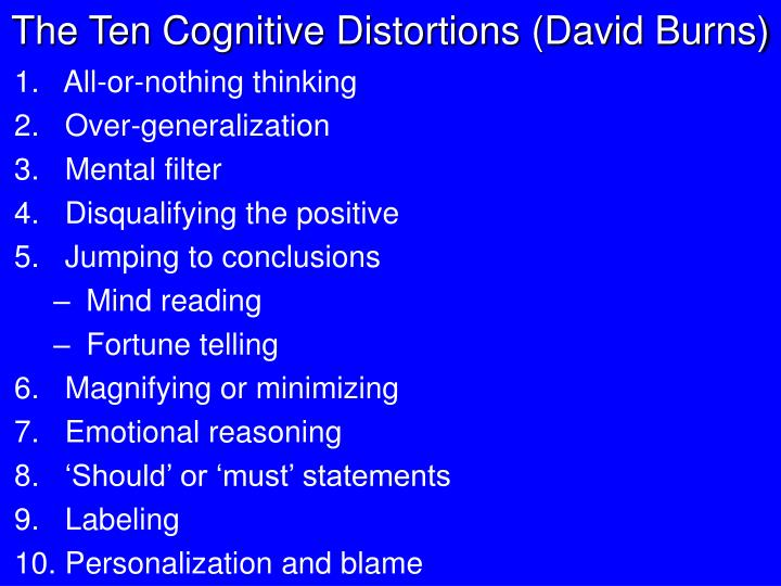 The Ten Cognitive Distortions (David Burns)