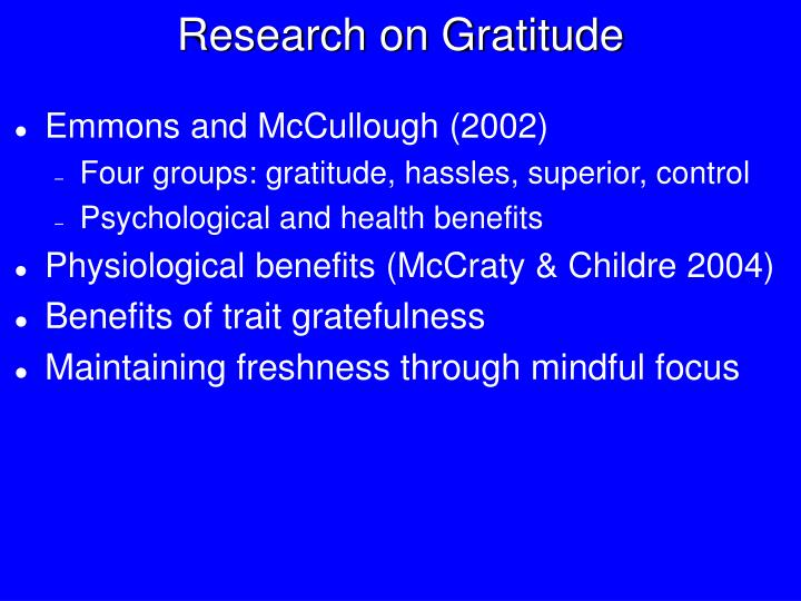 Research on Gratitude