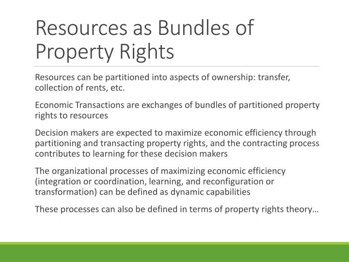 Resources as bundles of property rights