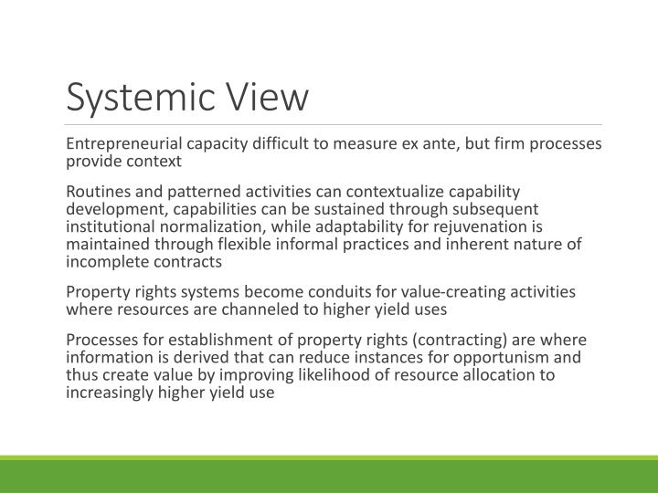 Systemic View