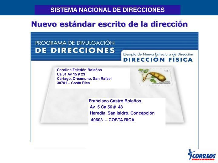 SISTEMA NACIONAL DE DIRECCIONES