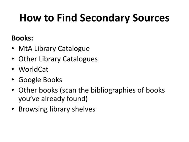 How to Find Secondary Sources