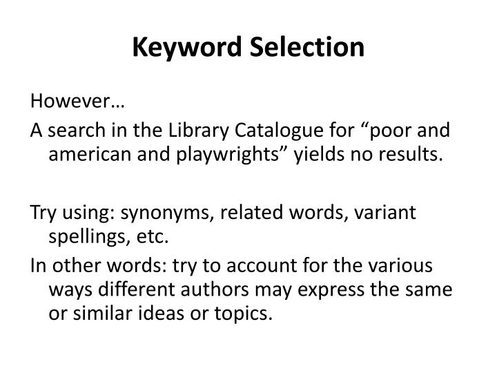 Keyword Selection