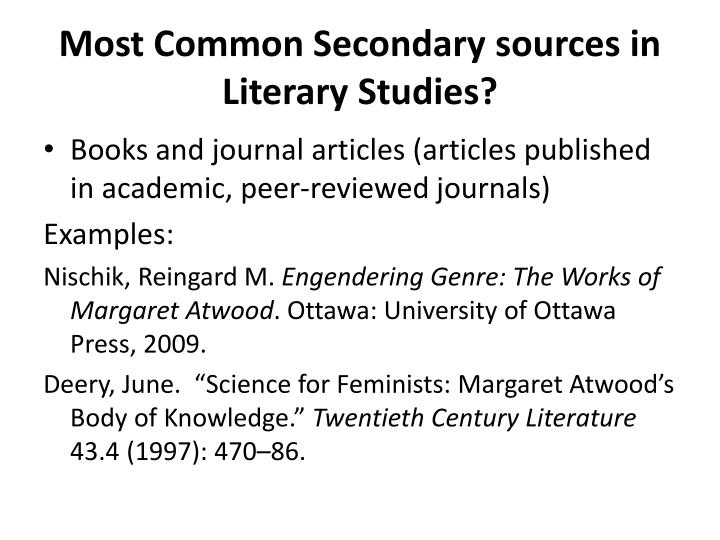 Most Common Secondary sources in Literary Studies?