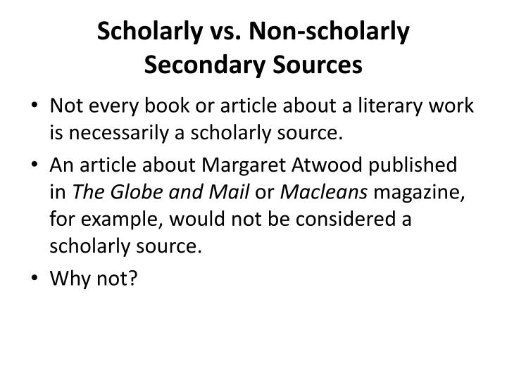 Scholarly vs. Non-scholarly