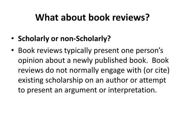 What about book reviews?