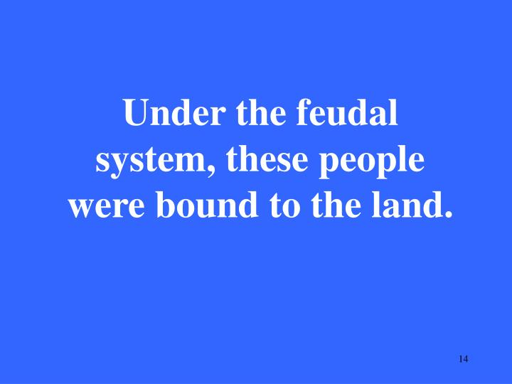 Under the feudal system, these people were bound to the land.