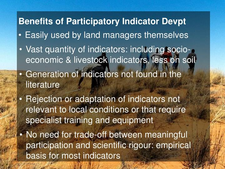 Benefits of Participatory Indicator Devpt