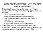 sustainable livelihoods lessons from early experiences