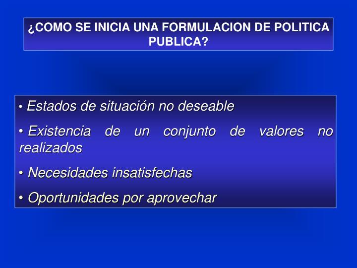 ¿COMO SE INICIA UNA FORMULACION DE POLITICA PUBLICA?