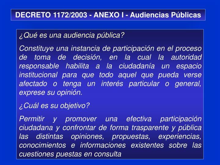 DECRETO 1172/2003 - ANEXO I - Audiencias Públicas