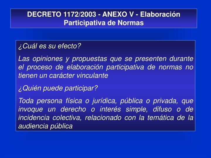 DECRETO 1172/2003 - ANEXO V - Elaboración Participativa de Normas