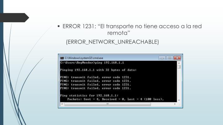 """ERROR 1231: """"El transporte no tiene acceso a la red remota"""""""