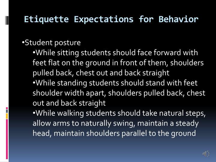 Etiquette Expectations for Behavior