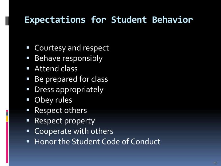Expectations for Student Behavior
