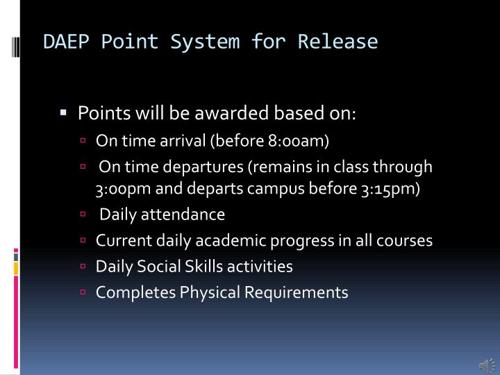 DAEP Point System for Release