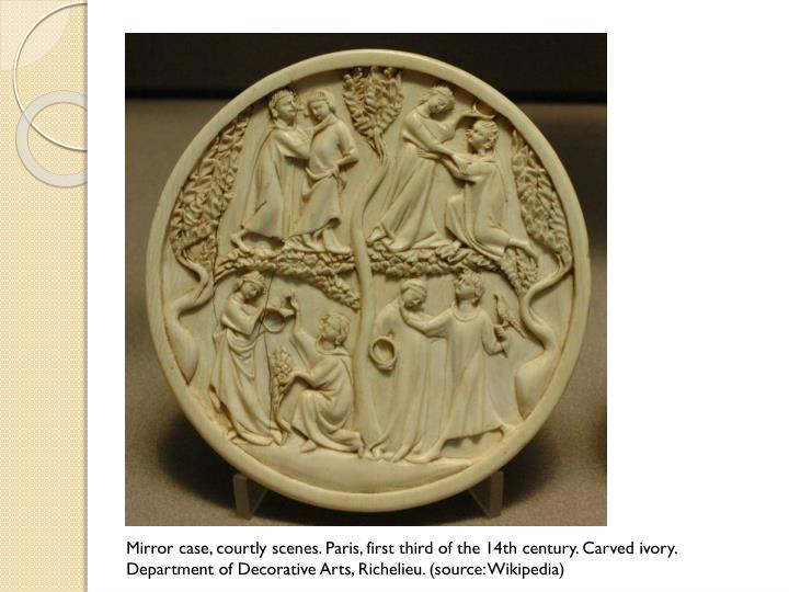 Mirror case, courtly scenes. Paris, first third of the 14th century. Carved ivory