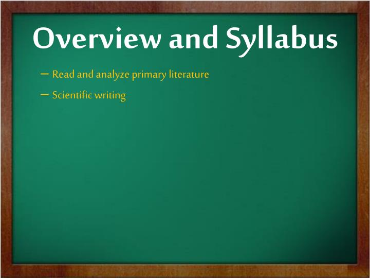 Overview and Syllabus