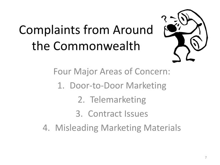 Complaints from Around the Commonwealth