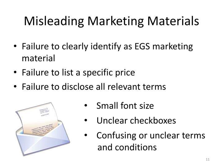 Misleading Marketing Materials