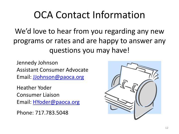 OCA Contact Information