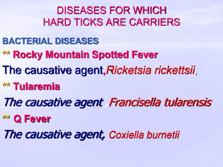 DISEASES FOR WHICH