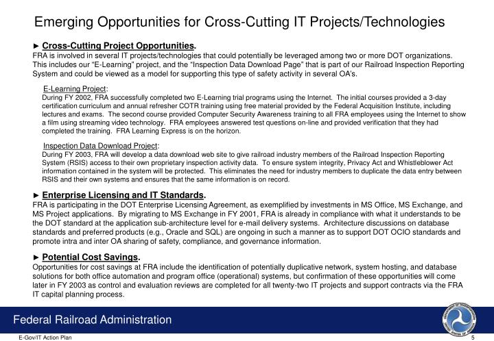 Emerging Opportunities for Cross-Cutting IT Projects/Technologies