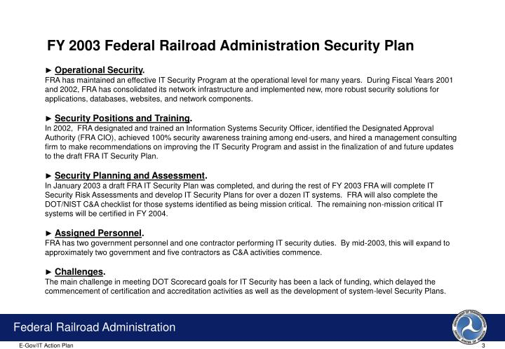 FY 2003 Federal Railroad Administration Security Plan