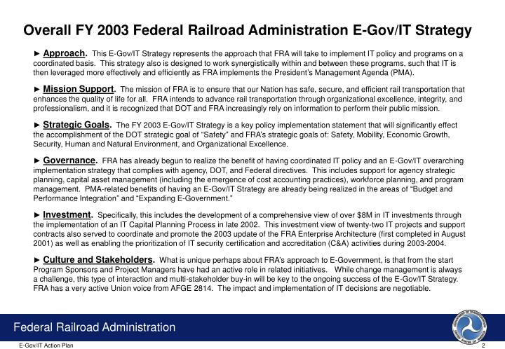 Overall FY 2003 Federal Railroad Administration E-Gov/IT Strategy