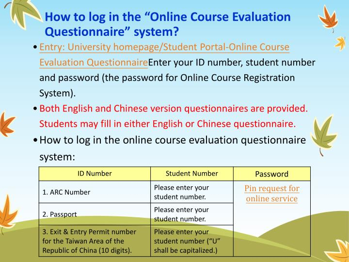 "How to log in the ""Online Course Evaluation Questionnaire"" system?"