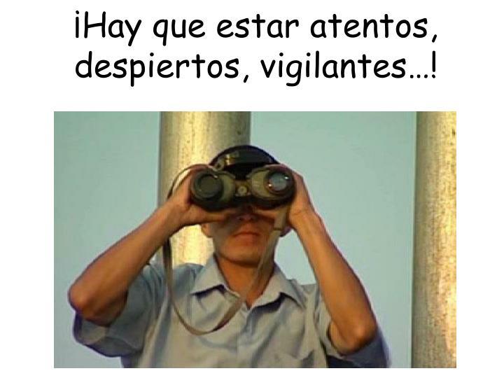 ¡Hay que estar atentos, despiertos, vigilantes…!