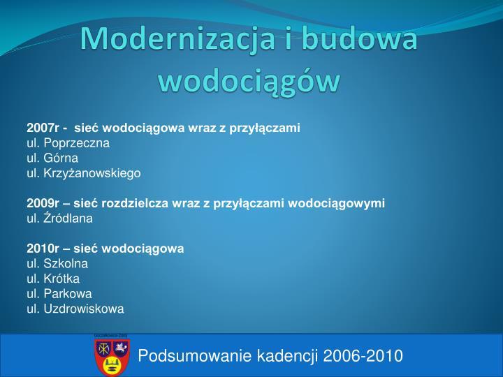 Modernizacja i budowa wodociągów
