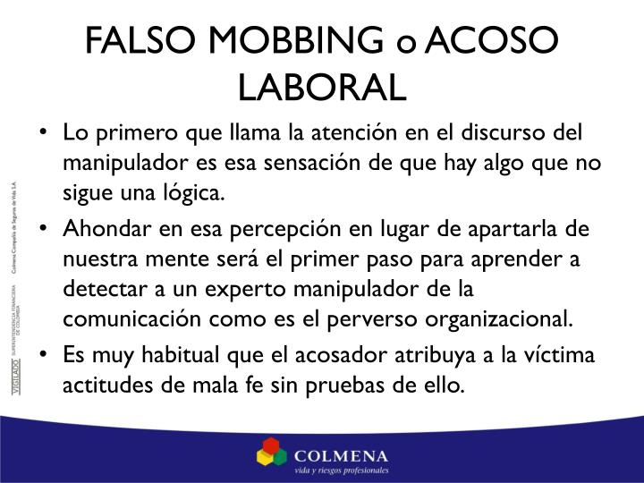 FALSO MOBBING o ACOSO LABORAL