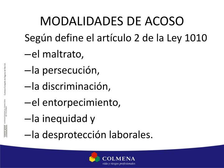 MODALIDADES DE ACOSO