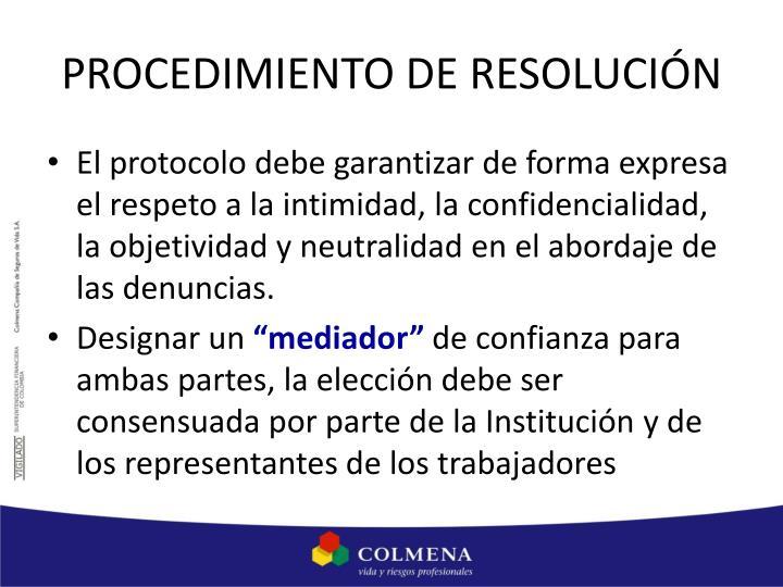 PROCEDIMIENTO DE RESOLUCIÓN