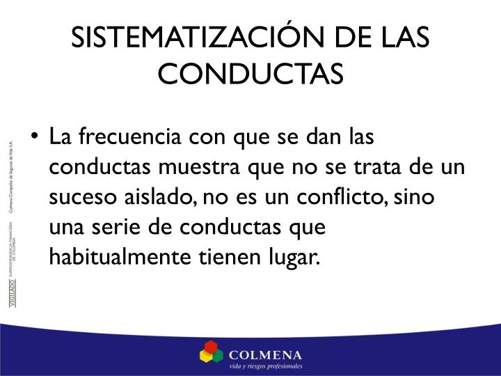 SISTEMATIZACIÓN DE LAS CONDUCTAS