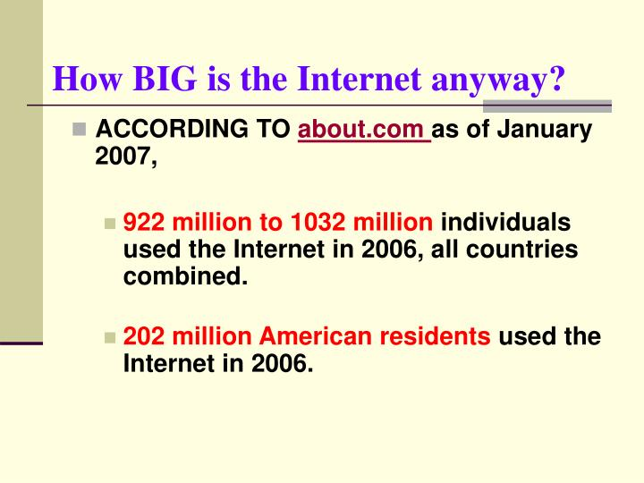 How BIG is the Internet anyway?