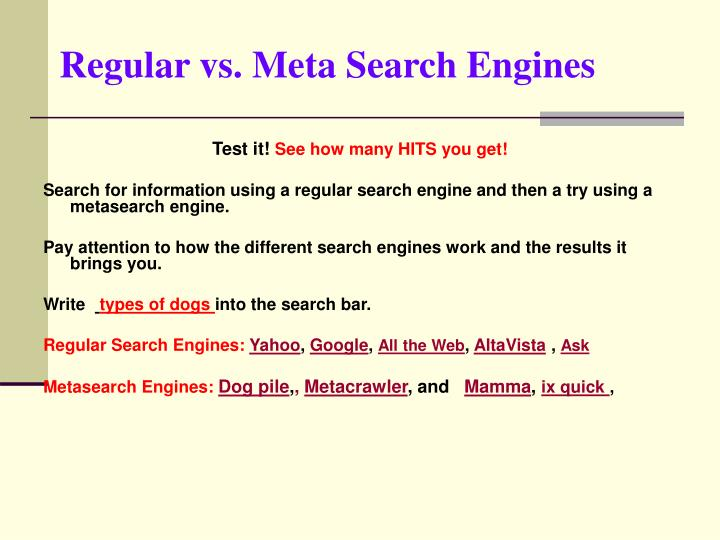 Regular vs. Meta Search Engines