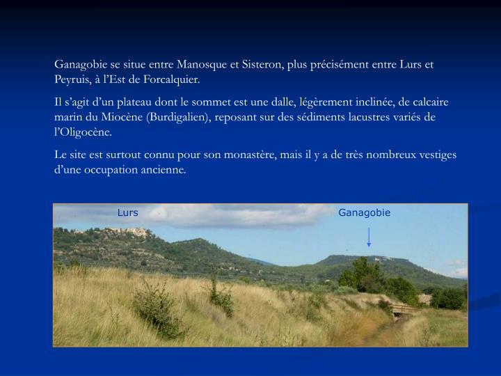 Ganagobie se situe entre Manosque et Sisteron, plus précisément entre Lurs et Peyruis, à l'Est de Forcalquier.