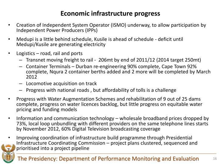 Economic infrastructure progress
