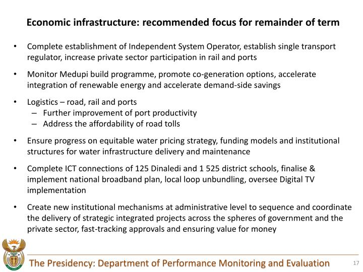 Economic infrastructure: recommended focus for remainder of term