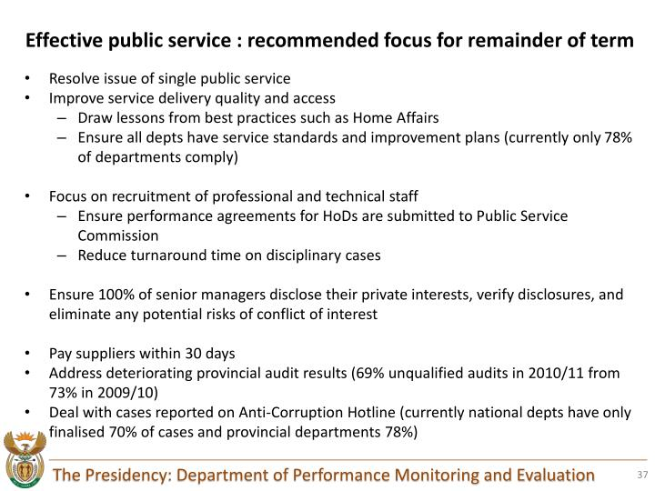 Effective public service : recommended focus for remainder of term