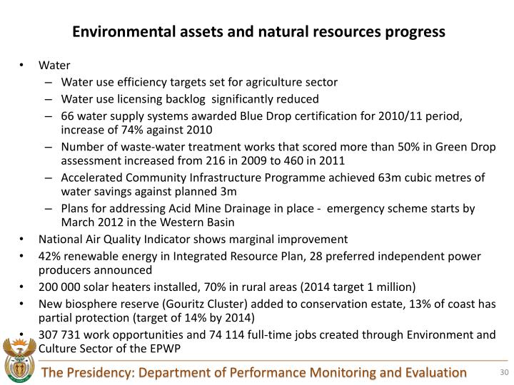 Environmental assets and natural resources progress