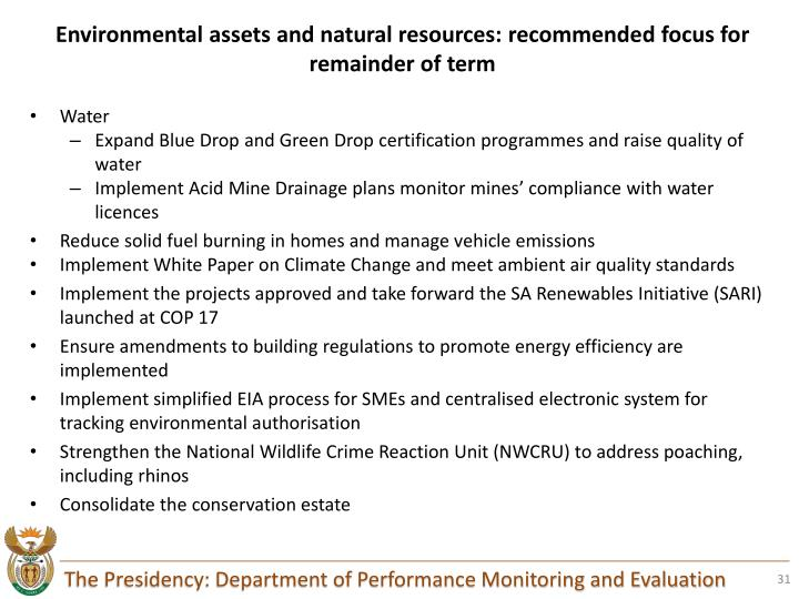 Environmental assets and natural resources: recommended focus for remainder of term