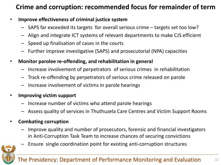 Crime and corruption: recommended focus for remainder of term