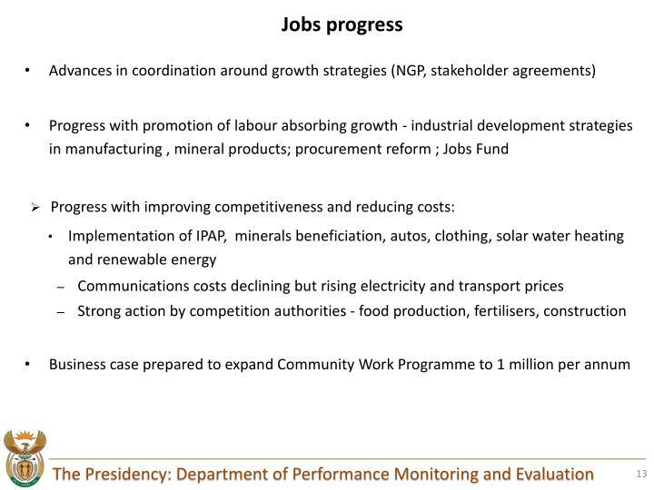 Jobs progress